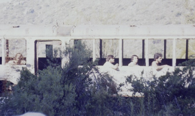 Posing in an abandoned bus, Field trip in Parque Nacional La Campana (~1991)